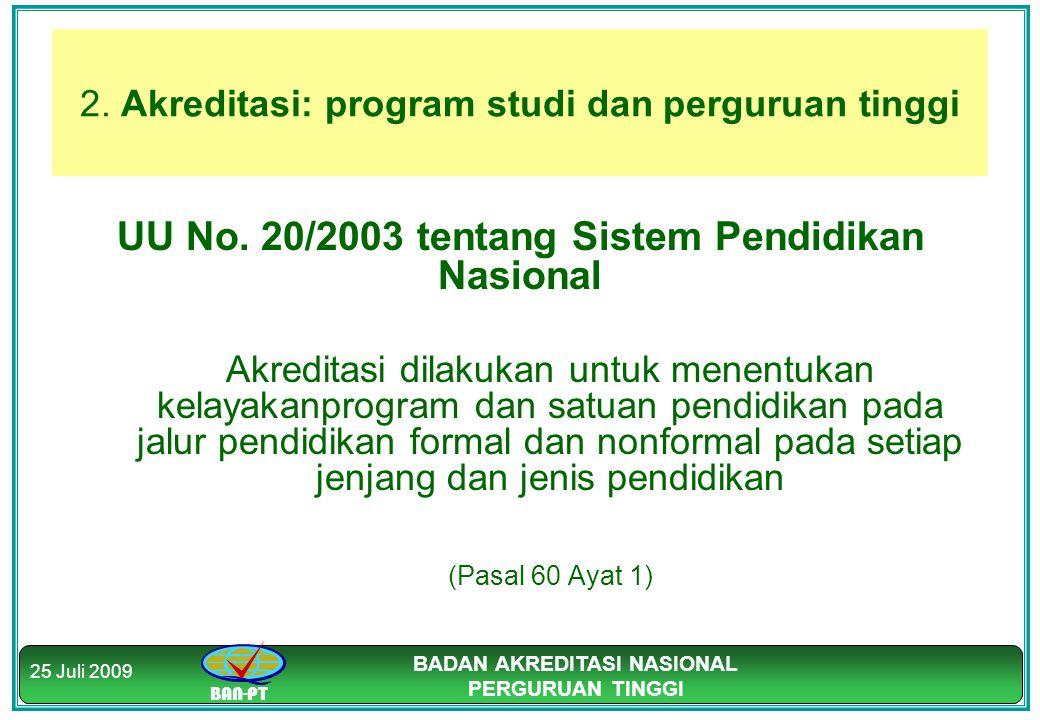 BAN-PT BADAN AKREDITASI NASIONAL PERGURUAN TINGGI 25 Juli 2009 2. Akreditasi: program studi dan perguruan tinggi UU No. 20/2003 tentang Sistem Pendidi