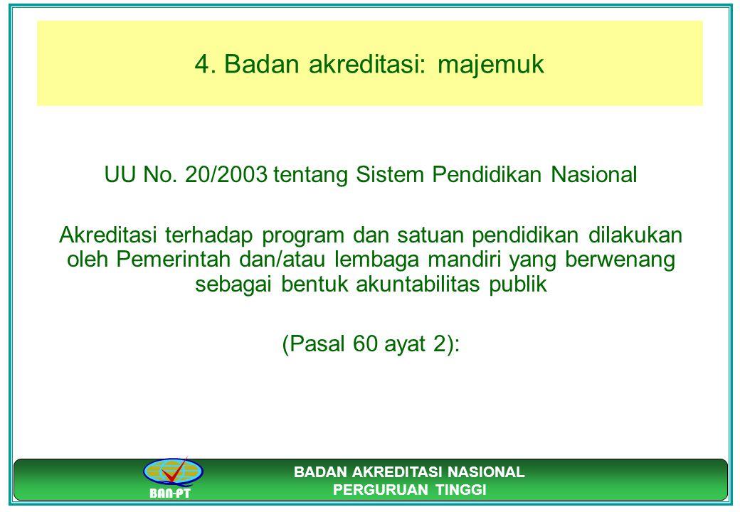 BAN-PT BADAN AKREDITASI NASIONAL PERGURUAN TINGGI 4. Badan akreditasi: majemuk UU No. 20/2003 tentang Sistem Pendidikan Nasional Akreditasi terhadap p