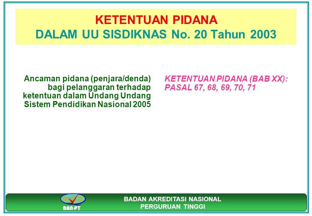 BAN-PT BADAN AKREDITASI NASIONAL PERGURUAN TINGGI KETENTUAN PIDANA DALAM UU SISDIKNAS No. 20 Tahun 2003 Ancaman pidana (penjara/denda) bagi pelanggara