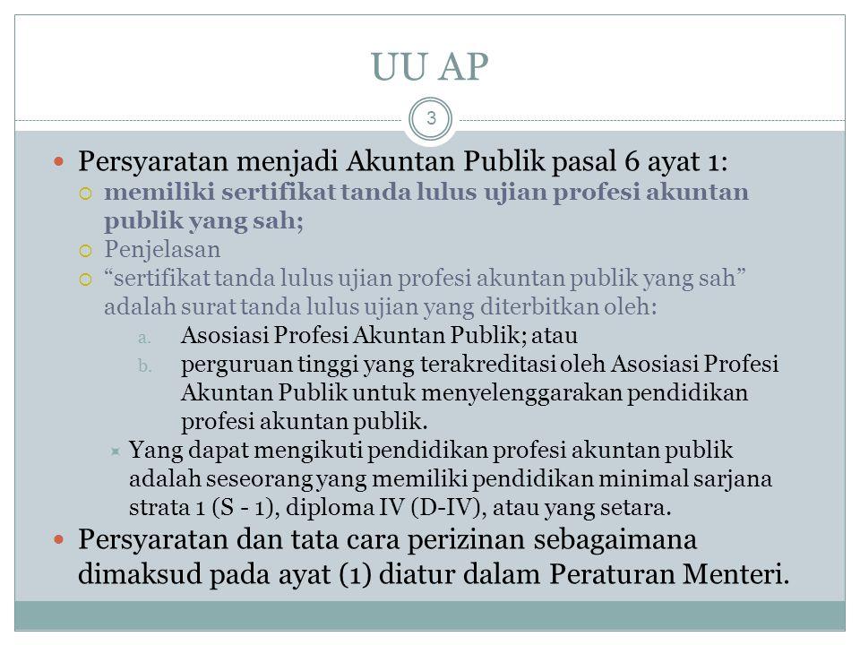"UU AP 3 Persyaratan menjadi Akuntan Publik pasal 6 ayat 1:  memiliki sertifikat tanda lulus ujian profesi akuntan publik yang sah;  Penjelasan  ""se"