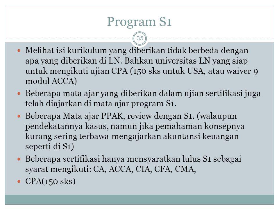 Program S1 35 Melihat isi kurikulum yang diberikan tidak berbeda dengan apa yang diberikan di LN. Bahkan universitas LN yang siap untuk mengikuti ujia