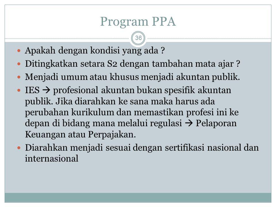 Program PPA 36 Apakah dengan kondisi yang ada ? Ditingkatkan setara S2 dengan tambahan mata ajar ? Menjadi umum atau khusus menjadi akuntan publik. IE