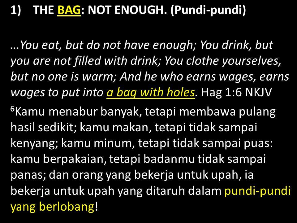 1) THE BAG: NOT ENOUGH.