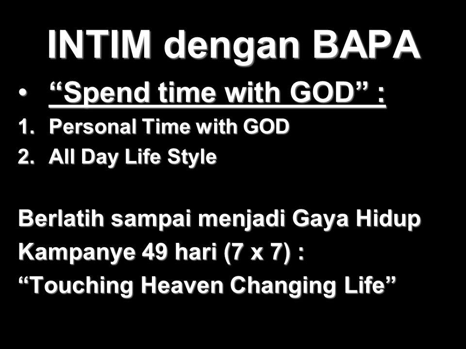 """INTIM dengan BAPA """"Spend time with GOD"""" :""""Spend time with GOD"""" : 1.Personal Time with GOD 2.All Day Life Style Berlatih sampai menjadi Gaya Hidup Kamp"""