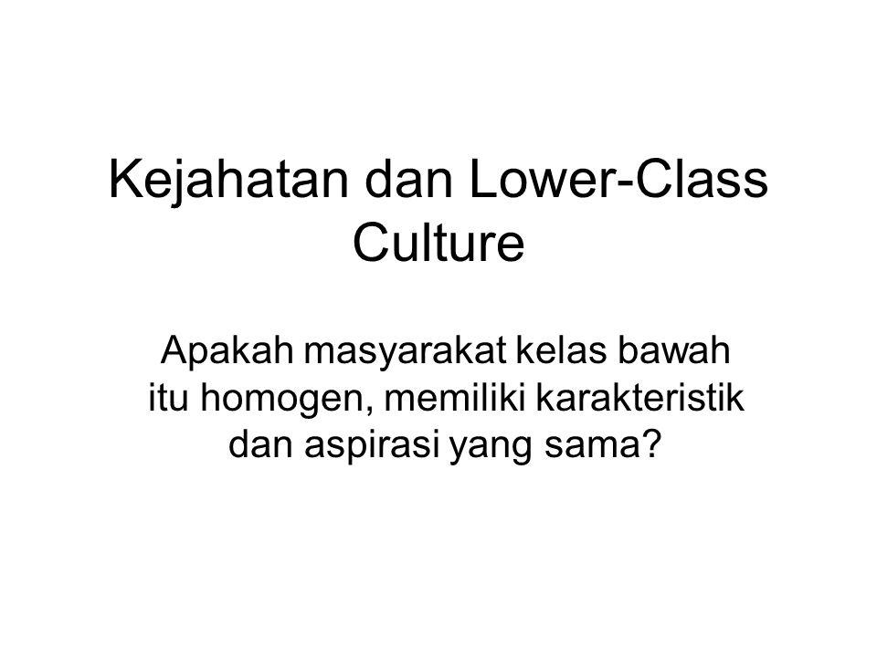 Kejahatan dan Lower-Class Culture Apakah masyarakat kelas bawah itu homogen, memiliki karakteristik dan aspirasi yang sama?