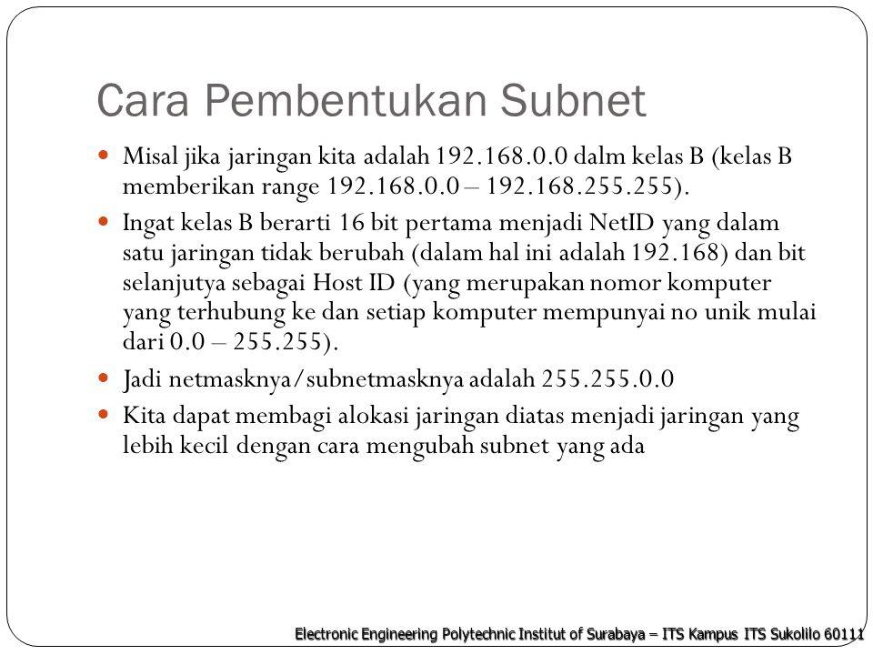 Electronic Engineering Polytechnic Institut of Surabaya – ITS Kampus ITS Sukolilo 60111 Cara Pembentukan Subnet berdasarkan Host Ubah IP dan netmask menjadi biner IP : 192.168.0.0  11000000.10101000.00000000.00000000 Netmask: 255.255.0.0  11111111.11111111.00000000.00000000 Panjang hostID kita adalah yang netmasknya semua 0  16 bit.