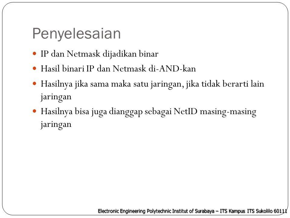Electronic Engineering Polytechnic Institut of Surabaya – ITS Kampus ITS Sukolilo 60111 Penyelesaian IP dan Netmask dijadikan binar Hasil binari IP da