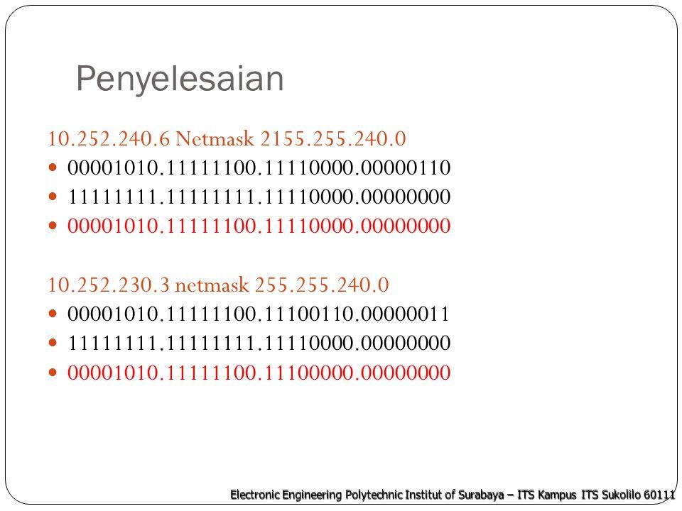 Electronic Engineering Polytechnic Institut of Surabaya – ITS Kampus ITS Sukolilo 60111 Penyelesaian 10.252.223.250 netmask 255.255.255.192 00001010.11111100.11011111.11111010 11111111.11111111.11000000.00000000 00001010.11111100.11000000.00000000 10.252.220.6 Netmask 255.255.192 00001010.11111100.11011100.00000110 11111111.11111111.11000000.00000000 00001010.11111100.11000000.00000000