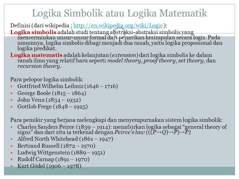 Logika Simbolik atau Logika Matematik Definisi (dari wikipedia ; http://en.wikipedia.org/wiki/Logic ):http://en.wikipedia.org/wiki/Logic Logika simbolis adalah studi tentang abstraksi-abstraksi simbolis yang mencerminkan unsur-unsur formal dari penarikan kesimpulan secara logis.