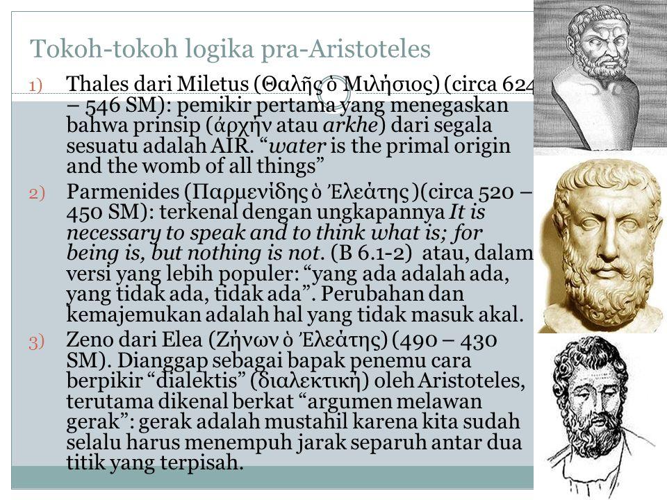 Tokoh-tokoh logika pra-Aristoteles 1) Thales dari Miletus (Θαλ ῆ ς ὁ Μιλήσιος) (circa 624 – 546 SM): pemikir pertama yang menegaskan bahwa prinsip ( ἀ ρχήν atau arkhe) dari segala sesuatu adalah AIR.