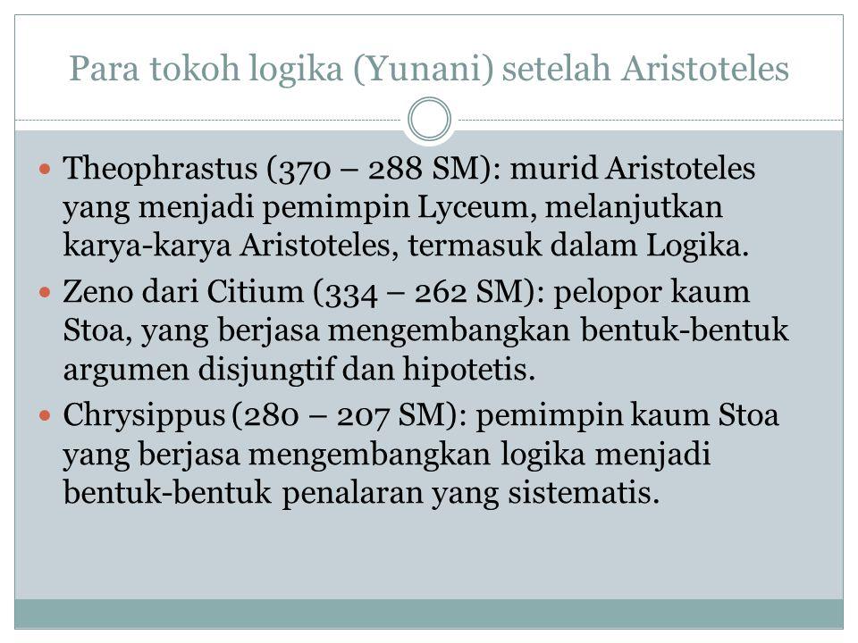 Para tokoh logika (Yunani) setelah Aristoteles Theophrastus (370 – 288 SM): murid Aristoteles yang menjadi pemimpin Lyceum, melanjutkan karya-karya Aristoteles, termasuk dalam Logika.
