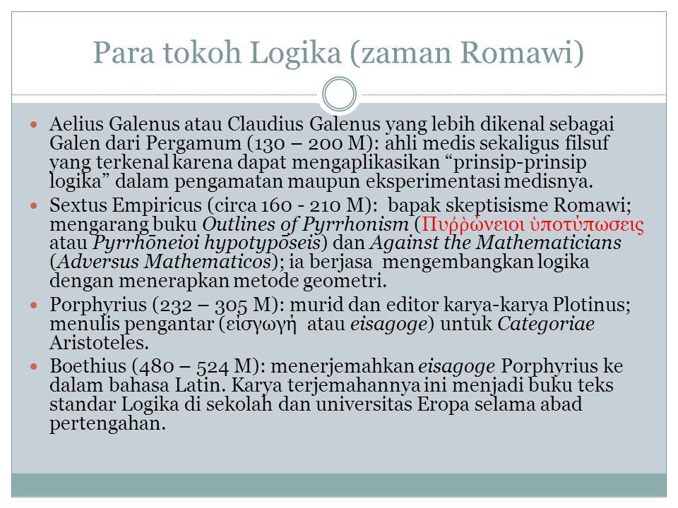 Para tokoh Logika (zaman Romawi) Aelius Galenus atau Claudius Galenus yang lebih dikenal sebagai Galen dari Pergamum (130 – 200 M): ahli medis sekaligus filsuf yang terkenal karena dapat mengaplikasikan prinsip-prinsip logika dalam pengamatan maupun eksperimentasi medisnya.