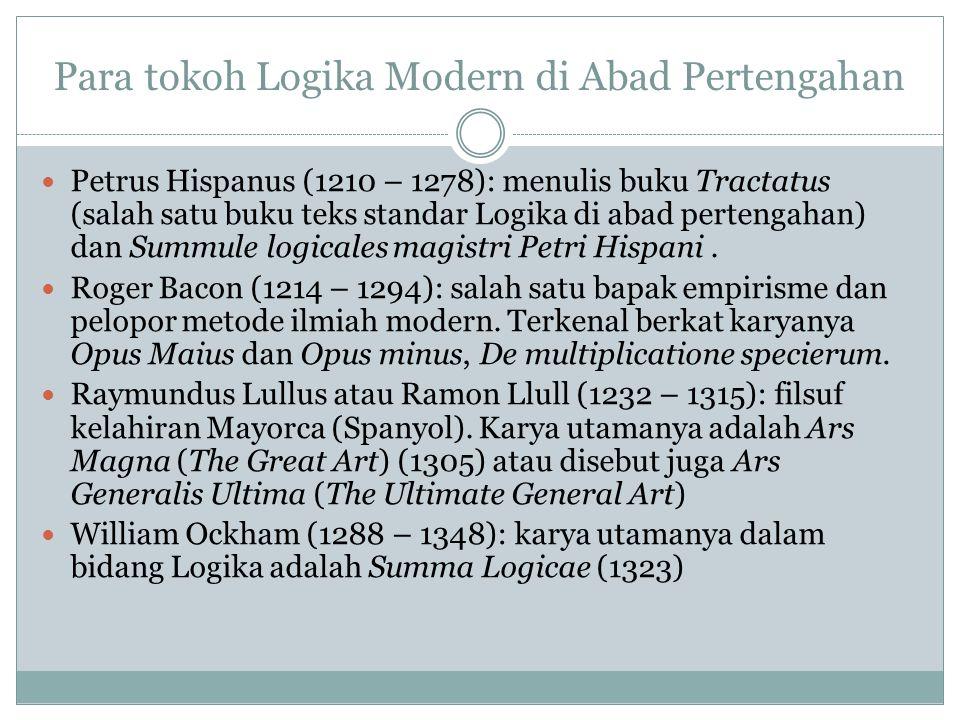 Para tokoh Logika Modern di awal Era Pencerahan Penerus tradisi logika Aristoteles adalah Thomas Hobbes (1588 – 1679) John Locke (1632 – 1704) Tokoh yang mengembangkan logika induktif untuk kepentingan pemajuan sains modern, menulis buku novum organon: Francis Bacon (1561 – 1626) http://emsworth.files.wordpr ess.com/2008/09/francis- bacon1.jpg