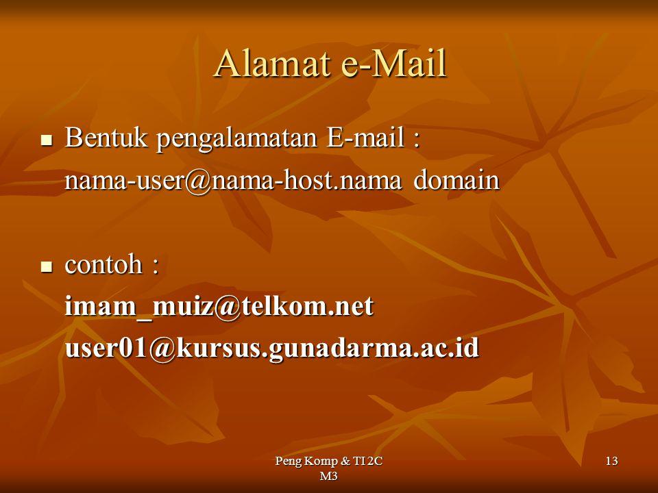 Peng Komp & TI 2C M3 13 Alamat e-Mail Bentuk pengalamatan E-mail : Bentuk pengalamatan E-mail : nama-user@nama-host.nama domain contoh : contoh :imam_