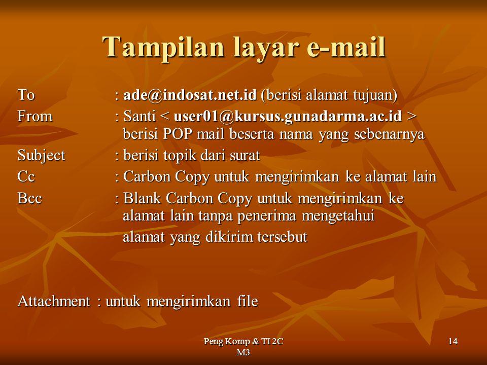 Peng Komp & TI 2C M3 14 Tampilan layar e-mail To: ade@indosat.net.id (berisi alamat tujuan) From : Santi berisi POP mail beserta nama yang sebenarnya