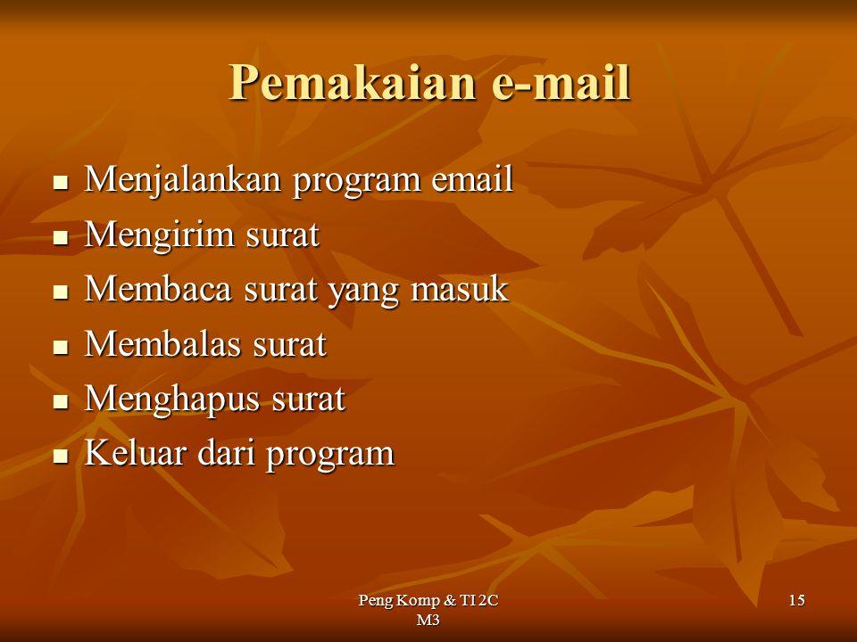 Peng Komp & TI 2C M3 15 Pemakaian e-mail Menjalankan program email Menjalankan program email Mengirim surat Mengirim surat Membaca surat yang masuk Me