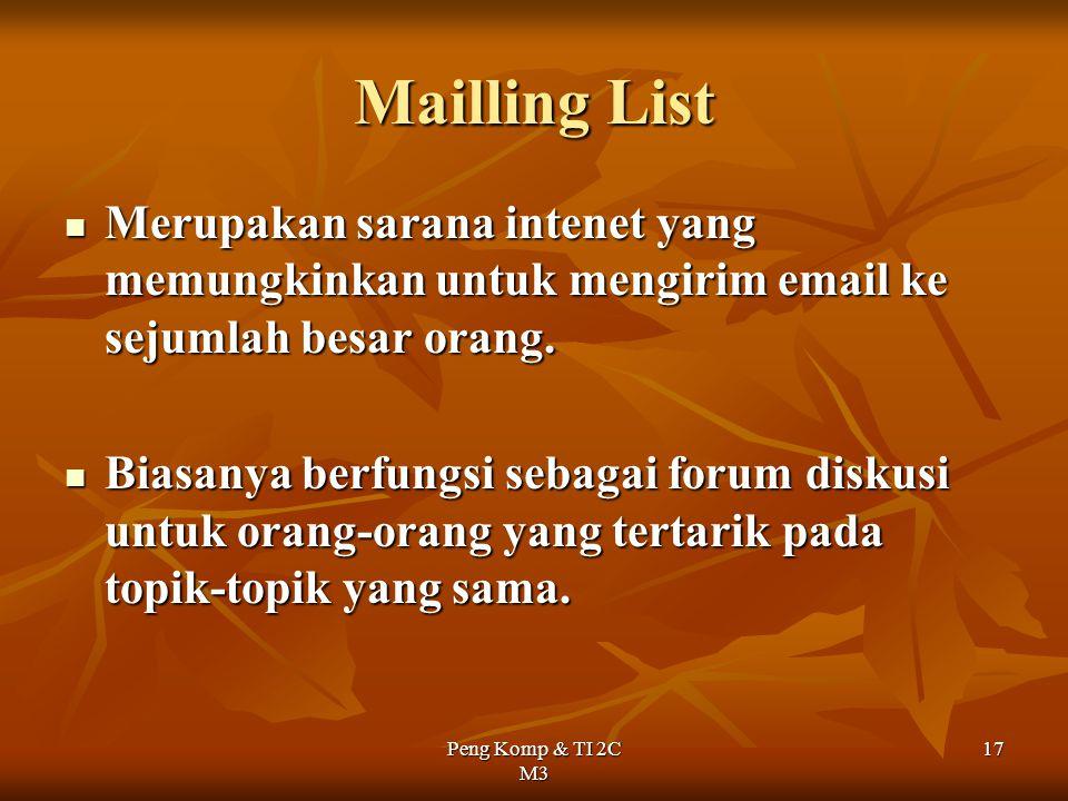 Peng Komp & TI 2C M3 17 Mailling List Merupakan sarana intenet yang memungkinkan untuk mengirim email ke sejumlah besar orang. Merupakan sarana intene