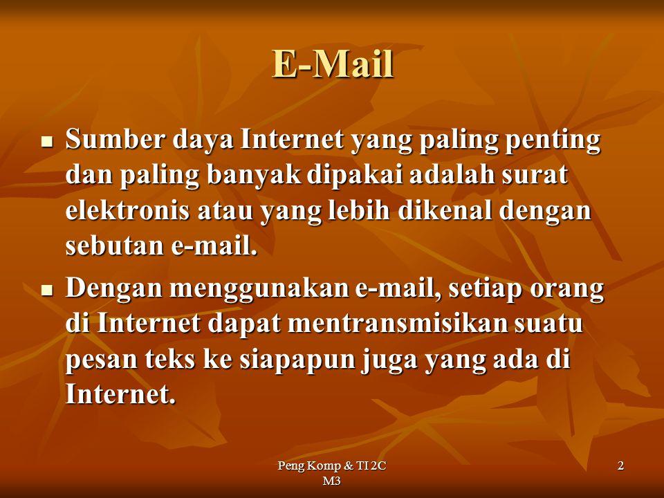 Peng Komp & TI 2C M3 2 E-Mail Sumber daya Internet yang paling penting dan paling banyak dipakai adalah surat elektronis atau yang lebih dikenal denga