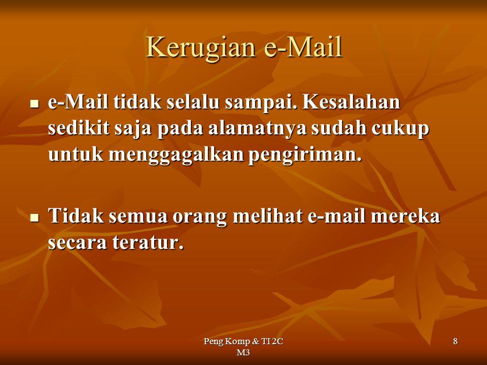 Peng Komp & TI 2C M3 8 Kerugian e-Mail e-Mail tidak selalu sampai. Kesalahan sedikit saja pada alamatnya sudah cukup untuk menggagalkan pengiriman. e-