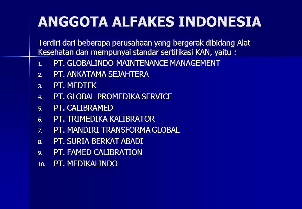 ANGGOTA ALFAKES INDONESIA Terdiri dari beberapa perusahaan yang bergerak dibidang Alat Kesehatan dan mempunyai standar sertifikasi KAN, yaitu : 1.