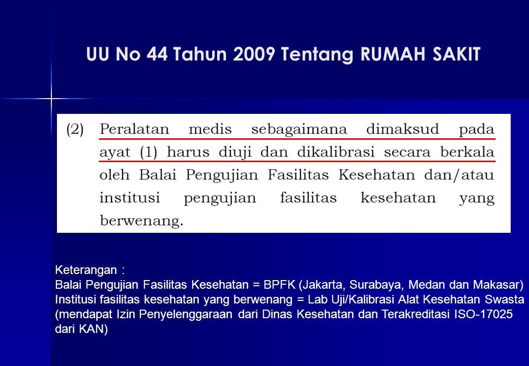 Keterangan : Balai Pengujian Fasilitas Kesehatan = BPFK (Jakarta, Surabaya, Medan dan Makasar) Institusi fasilitas kesehatan yang berwenang = Lab Uji/Kalibrasi Alat Kesehatan Swasta (mendapat Izin Penyelenggaraan dari Dinas Kesehatan dan Terakreditasi ISO-17025 dari KAN)
