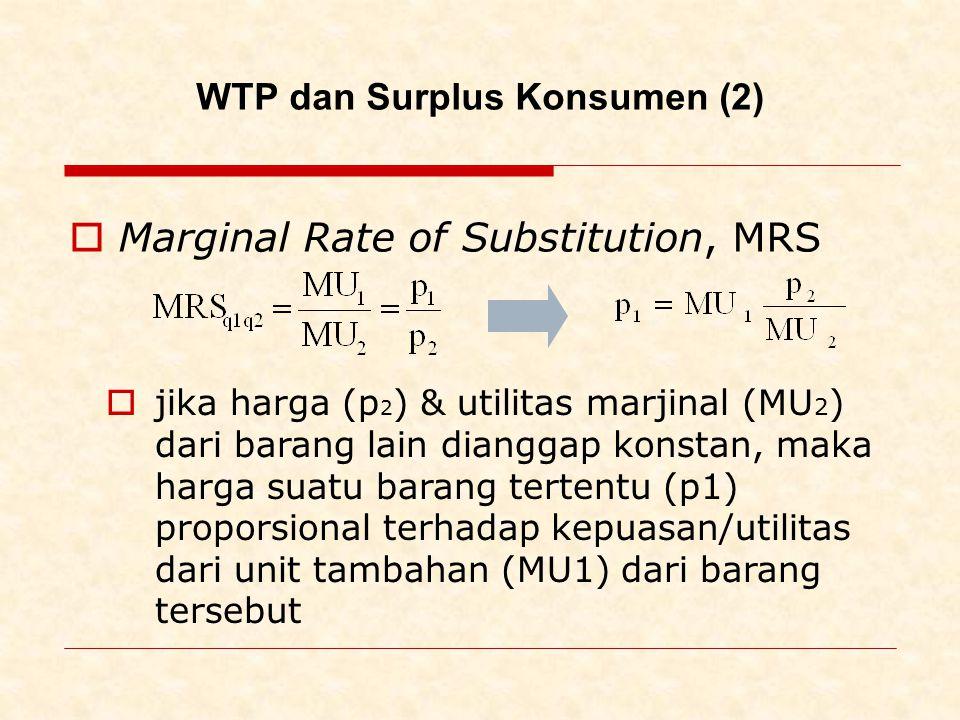 WTP dan Surplus Konsumen (2)  Marginal Rate of Substitution, MRS  jika harga (p 2 ) & utilitas marjinal (MU 2 ) dari barang lain dianggap konstan, maka harga suatu barang tertentu (p1) proporsional terhadap kepuasan/utilitas dari unit tambahan (MU1) dari barang tersebut