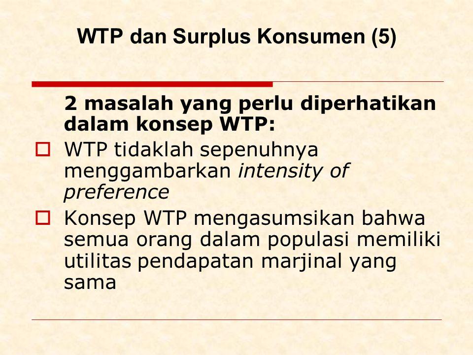 WTP dan Surplus Konsumen (5) 2 masalah yang perlu diperhatikan dalam konsep WTP:  WTP tidaklah sepenuhnya menggambarkan intensity of preference  Konsep WTP mengasumsikan bahwa semua orang dalam populasi memiliki utilitas pendapatan marjinal yang sama