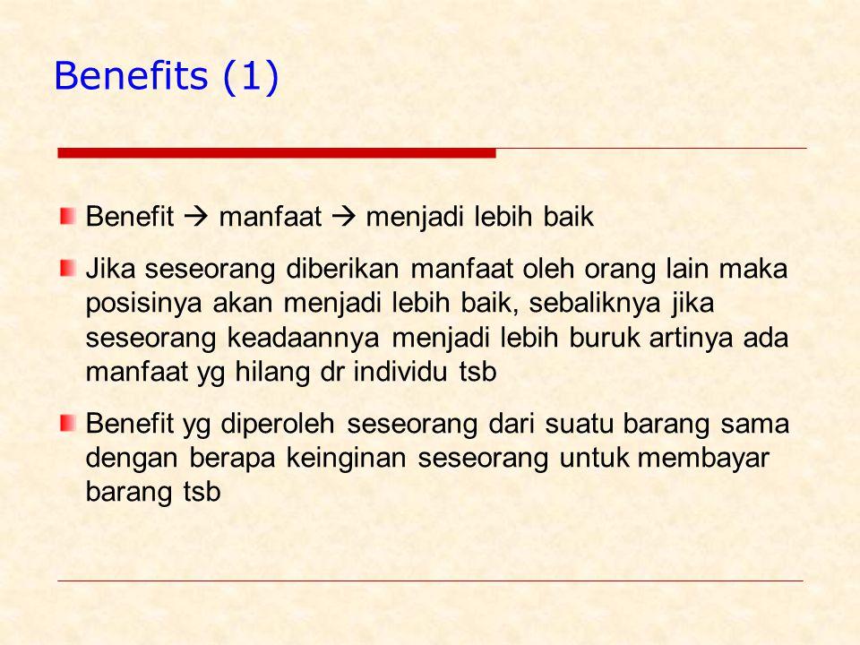 Benefits (1) Benefit  manfaat  menjadi lebih baik Jika seseorang diberikan manfaat oleh orang lain maka posisinya akan menjadi lebih baik, sebaliknya jika seseorang keadaannya menjadi lebih buruk artinya ada manfaat yg hilang dr individu tsb Benefit yg diperoleh seseorang dari suatu barang sama dengan berapa keinginan seseorang untuk membayar barang tsb