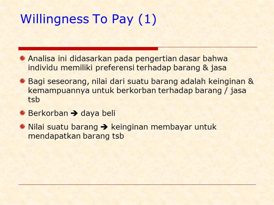 Willingness To Pay (1) Analisa ini didasarkan pada pengertian dasar bahwa individu memiliki preferensi terhadap barang & jasa Bagi seseorang, nilai dari suatu barang adalah keinginan & kemampuannya untuk berkorban terhadap barang / jasa tsb Berkorban  daya beli Nilai suatu barang  keinginan membayar untuk mendapatkan barang tsb