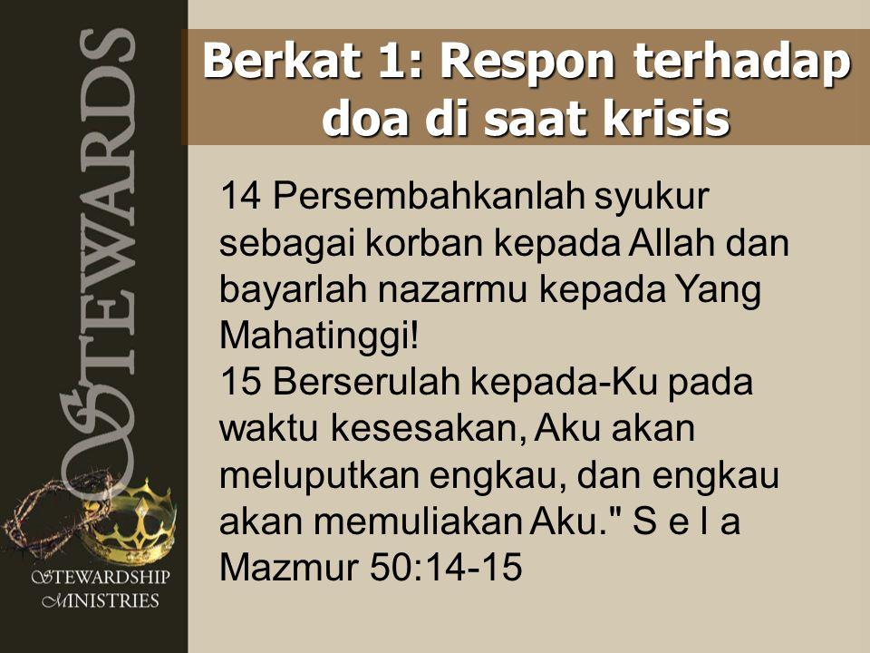 14 Persembahkanlah syukur sebagai korban kepada Allah dan bayarlah nazarmu kepada Yang Mahatinggi! 15 Berserulah kepada-Ku pada waktu kesesakan, Aku a