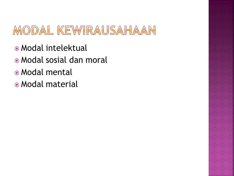  Modal intelektual  Modal sosial dan moral  Modal mental  Modal material