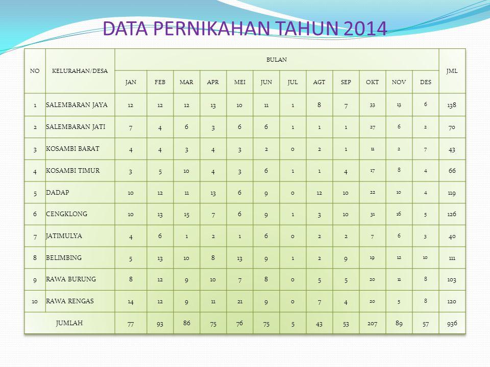 DATA PERNIKAHAN TAHUN 2014