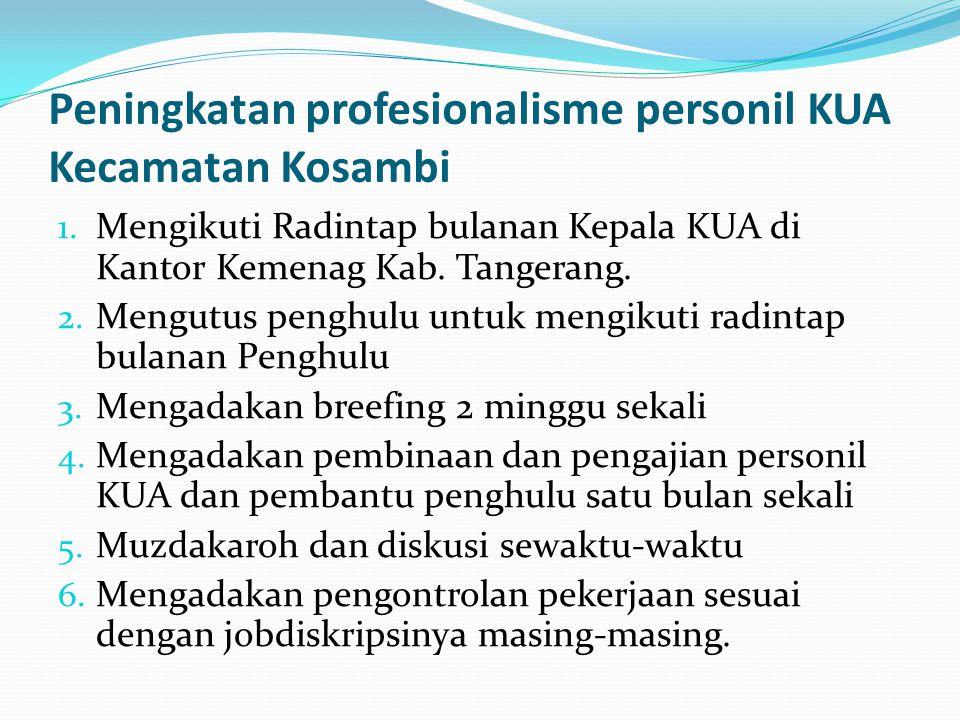 Peningkatan profesionalisme personil KUA Kecamatan Kosambi 1. Mengikuti Radintap bulanan Kepala KUA di Kantor Kemenag Kab. Tangerang. 2. Mengutus peng