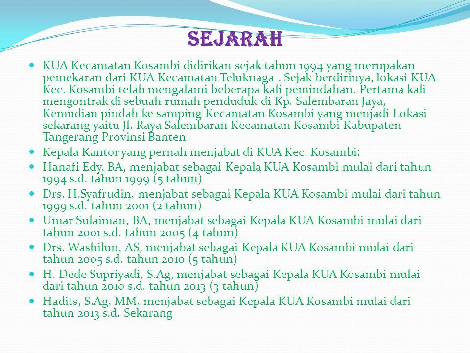 Sejarah KUA Kecamatan Kosambi didirikan sejak tahun 1994 yang merupakan pemekaran dari KUA Kecamatan Teluknaga. Sejak berdirinya, lokasi KUA Kec. Kosa