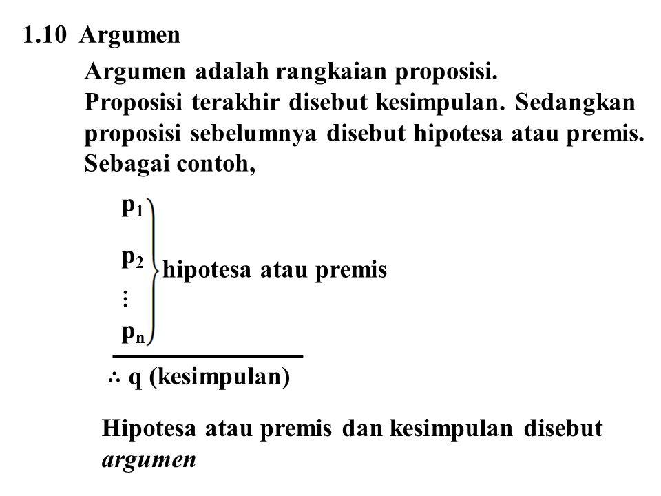 1.10 Argumen Argumen adalah rangkaian proposisi. Proposisi terakhir disebut kesimpulan. Sedangkan proposisi sebelumnya disebut hipotesa atau premis. S