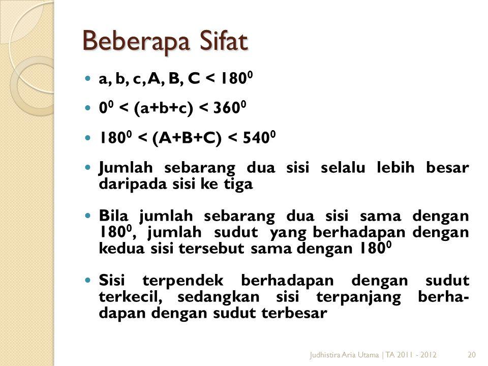 20Judhistira Aria Utama   TA 2011 - 2012 Beberapa Sifat a, b, c, A, B, C < 180 0 0 0 < (a+b+c) < 360 0 180 0 < (A+B+C) < 540 0 Jumlah sebarang dua sis