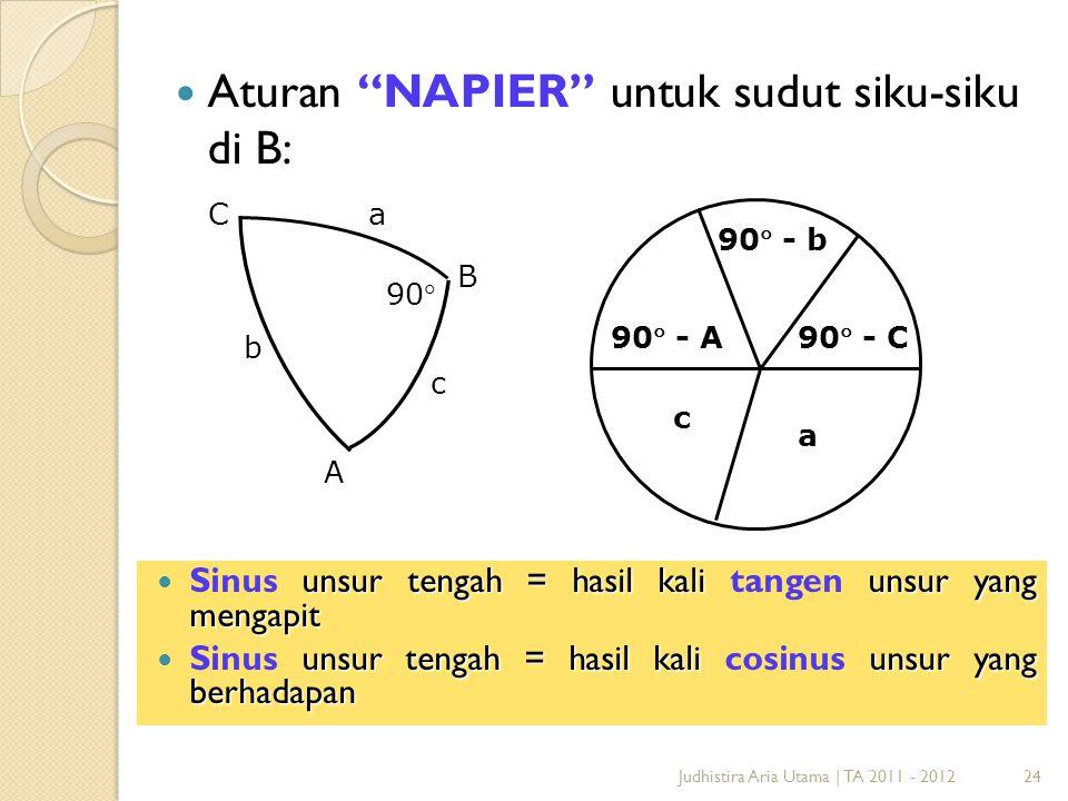 """24Judhistira Aria Utama   TA 2011 - 2012 Aturan """"NAPIER"""" untuk sudut siku-siku di B: a 90 - A c 90 - b 90 - C C A B 90 a b c unsur tengah = hasil"""