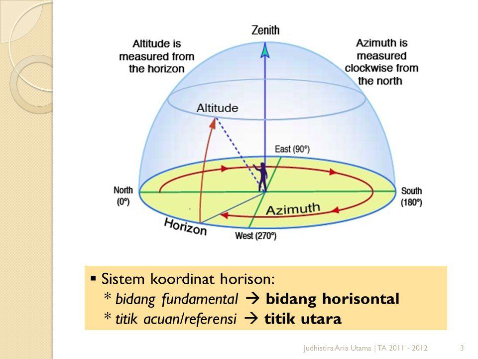 3Judhistira Aria Utama   TA 2011 - 2012  Sistem koordinat horison: * bidang fundamental  bidang horisontal * titik acuan/referensi  titik utara