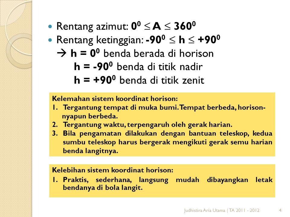 4Judhistira Aria Utama   TA 2011 - 2012 Rentang azimut: 0 0 ≤ A ≤ 360 0 Rentang ketinggian: -90 0 ≤ h ≤ +90 0  h = 0 0 benda berada di horison h = -9
