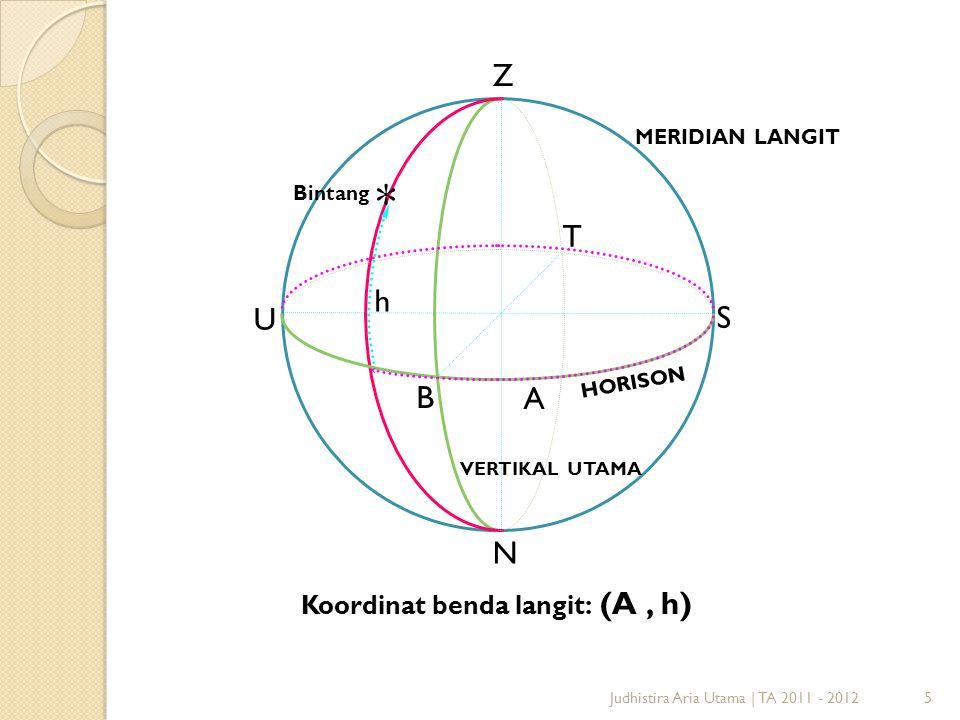 5Judhistira Aria Utama   TA 2011 - 2012 H O R I S O N MERIDIAN LANGIT U T S B Z N VERTIKAL UTAMA Bintang h Koordinat benda langit: (A, h) A *