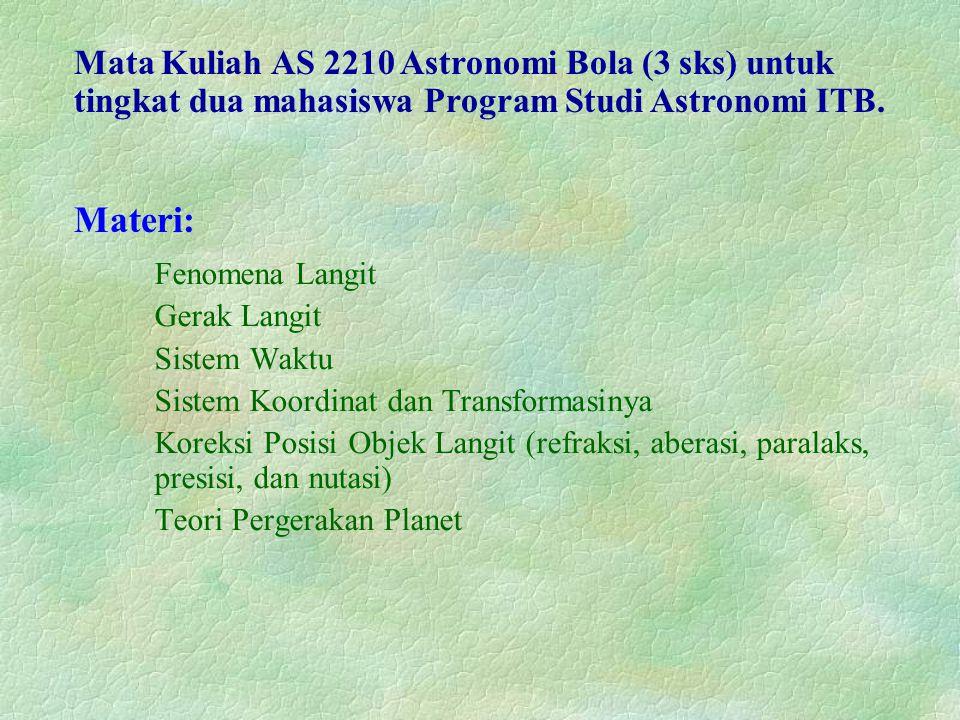 Fenomena Langit Gerak Langit Sistem Waktu Sistem Koordinat dan Transformasinya Koreksi Posisi Objek Langit (refraksi, aberasi, paralaks, presisi, dan nutasi) Teori Pergerakan Planet Mata Kuliah AS 2210 Astronomi Bola (3 sks) untuk tingkat dua mahasiswa Program Studi Astronomi ITB.