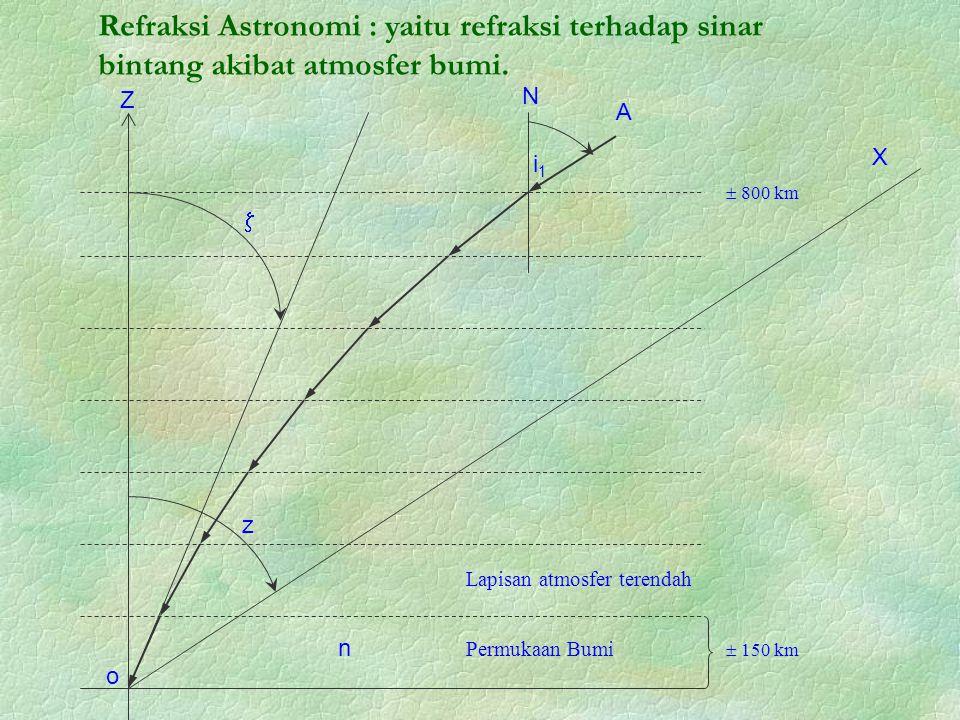 o  z n Permukaan Bumi Lapisan atmosfer terendah  150 km  800 km i1i1 N A X Z Refraksi Astronomi : yaitu refraksi terhadap sinar bintang akibat atmosfer bumi.