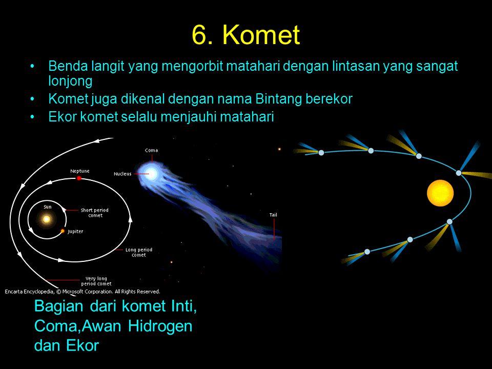 6. Komet Benda langit yang mengorbit matahari dengan lintasan yang sangat lonjong Komet juga dikenal dengan nama Bintang berekor Ekor komet selalu men