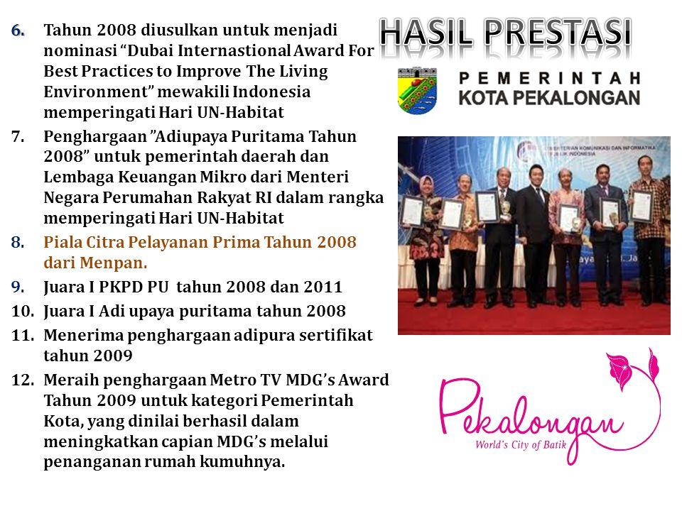 """6. 6. Tahun 2008 diusulkan untuk menjadi nominasi """"Dubai Internastional Award For Best Practices to Improve The Living Environment"""" mewakili Indonesia"""