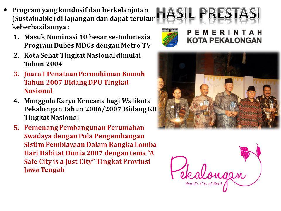 Program yang kondusif dan berkelanjutan (Sustainable) di lapangan dan dapat terukur keberhasilannya : 1.Masuk Nominasi 10 besar se-Indonesia Program D