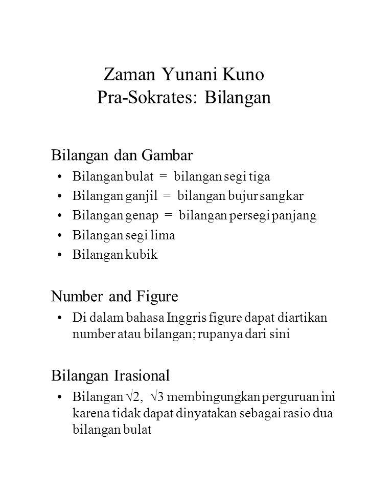Zaman Yunani Kuno Pra-Sokrates: Bilangan Bilangan dan Gambar Bilangan bulat = bilangan segi tiga Bilangan ganjil = bilangan bujur sangkar Bilangan gen