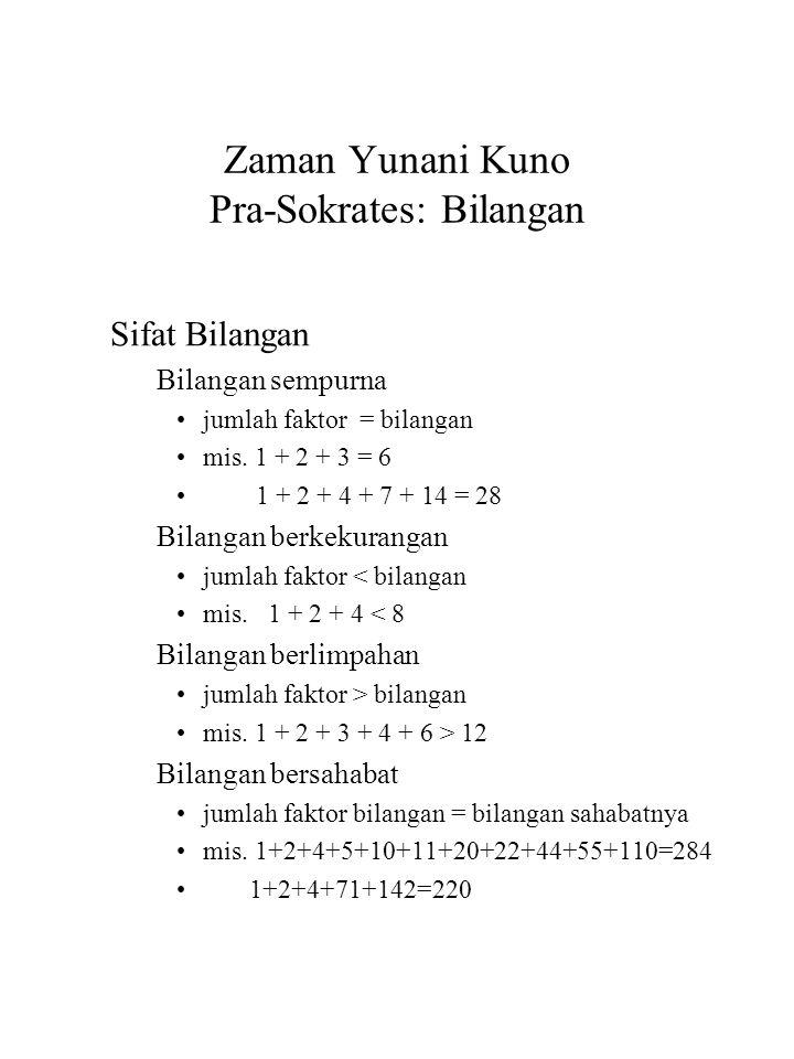 Zaman Yunani Kuno Pra-Sokrates: Bilangan Sifat Bilangan Bilangan sempurna jumlah faktor = bilangan mis. 1 + 2 + 3 = 6 1 + 2 + 4 + 7 + 14 = 28 Bilangan
