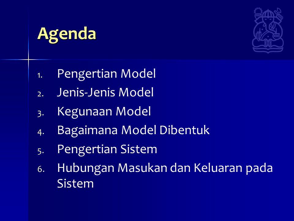 Agenda 1. 1. Pengertian Model 2. 2. Jenis-Jenis Model 3. 3. Kegunaan Model 4. 4. Bagaimana Model Dibentuk 5. 5. Pengertian Sistem 6. 6. Hubungan Masuk