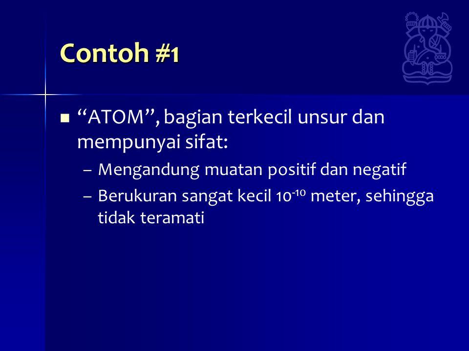 Contoh #1 ATOM , bagian terkecil unsur dan mempunyai sifat: – –Mengandung muatan positif dan negatif – –Berukuran sangat kecil 10 -10 meter, sehingga tidak teramati