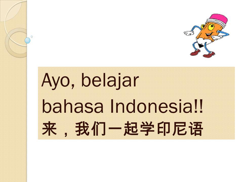Ayo, belajar bahasa Indonesia!! 来,我们一起学印尼语